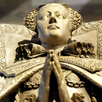 Cast of the tomb of Mary, Queen of Scots, on loan from the Scottish National Portrait Gallery. The original is in Westminster Abbey, London.