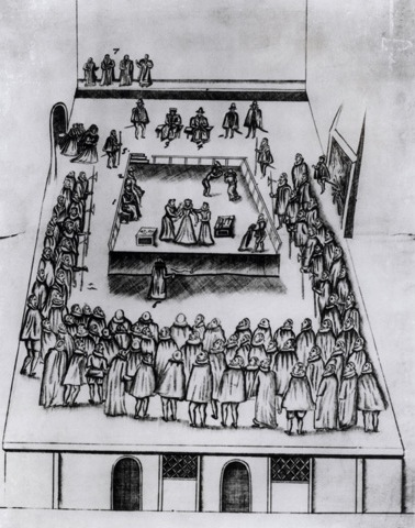 A drawing of Mary's execution at Fotheringhay Castle, 1587